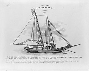 USS Perry (1843) - The Confederate States privateer Savannah captured off Charleston by the U.S. Brig Perry, Lieut. Parrott