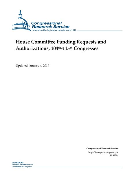 File:Congressional Research Service Report RL32794 - House Committee Funding Requests and Authorizations, 104th-115th Congresses.pdf