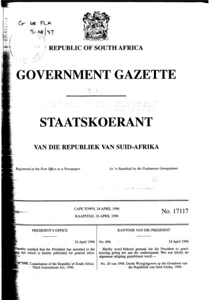 File:Constitution of the Republic of South Africa Third Amendment Act 1996 from Government Gazette.djvu