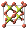 Unit cell, ball and stick model of copper(I) fluoride