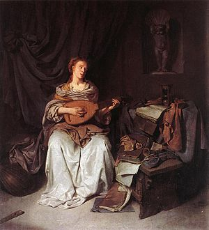 Cornelis Pietersz. Bega - Woman Playing a Lute - WGA01579.jpg