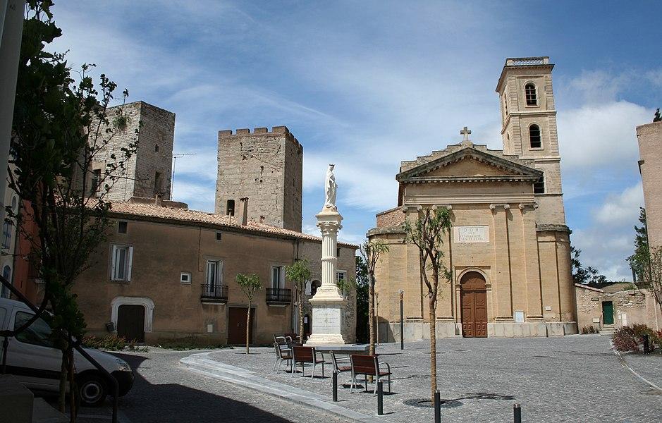 Cournonterral (Hérault) - Église Sainte-Croix et Tour.