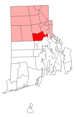 Location of Cranston in Providence County, Rhode Island