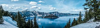 Crater Lake - Panoramic view of Crater Lake – Spring 2016