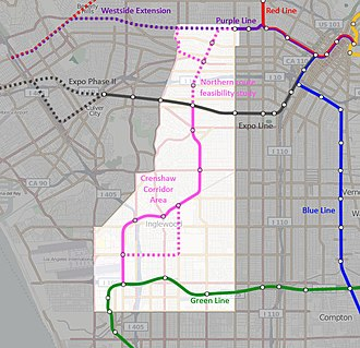 Crenshaw/LAX Line - Map of approved route of Crenshaw/LAX Line
