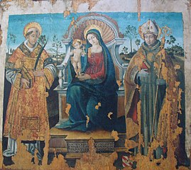 Madonna and Child Enthroned between Two Saints