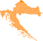 Map of Croatia highlighting the County location