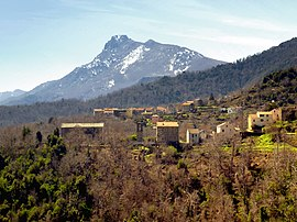 The hamlet of Sant'Andrea and the church, with the Monte San Petrone in the background