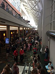 Crowds in the Salt Palace Convention Center at the 2014 Salt Lake Comic Con in Salt Lake City, Utah