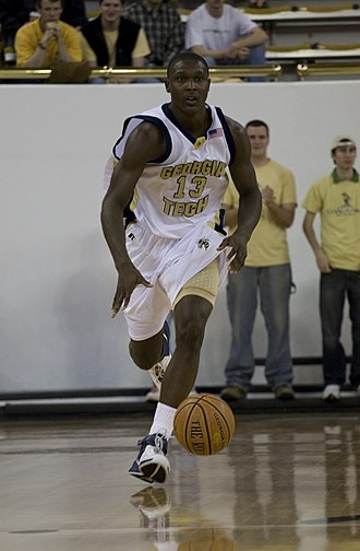 2006–07 Georgia Tech Yellow Jackets men's basketball team - D'Andre Bell dribbling the ball