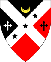 Shield representing deans court. A diagonal white cross divides the shield into four parts.