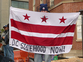 D.C. Statehood Now! flag at Inauguration 2013 DC statehood now flag at Inauguration 2013.jpg