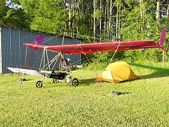 King post - DFE Ascender III-C ultralight aircraft showing its king post above the wing