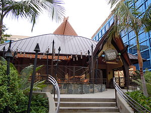 Disneyland Hotel (California) - Trader Sam's Enchanted Tiki Bar at the Disneyland Hotel following the hotel renovation in 2012.  To the right is the Adventure Tower with new blue windows.
