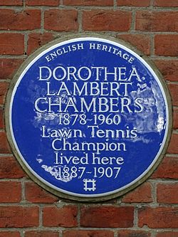 Dorothea lambert chambers 1878 1960 lawn tennis champion lived here 1887 1907