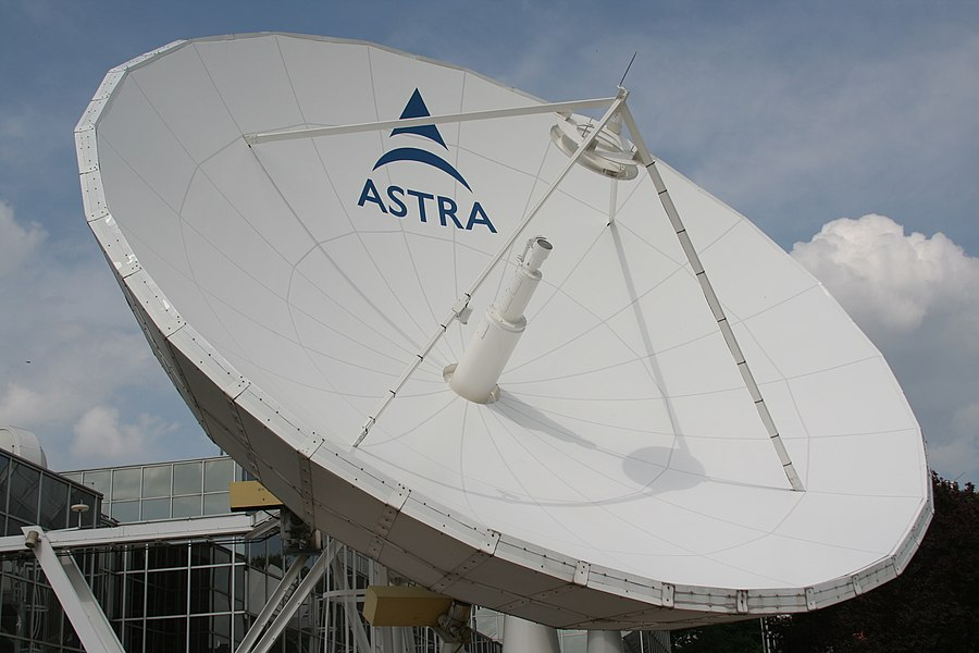 One of the multiple satellite dishes in the SES ASTRA campus located in Betzdorf, Luxembourg.