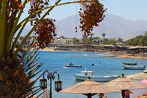Dahab, South Sinai, Egypt, view of shore from ...