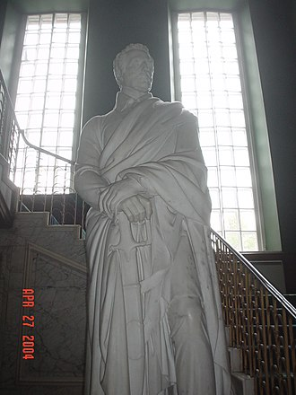 Dalkeith Palace - The statue of the Duke of Wellington, by Thomas Campbell, located at the base of the Great Staircase in Dalkeith Palace.
