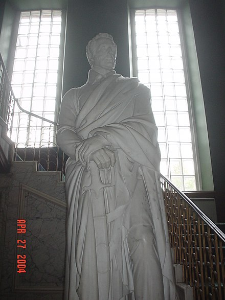 The statue of the Duke of Wellington, by Thomas Campbell, located at the base of the Great Staircase in Dalkeith Palace. Dalkeith Palace, statue of Duke of Wellington.jpg