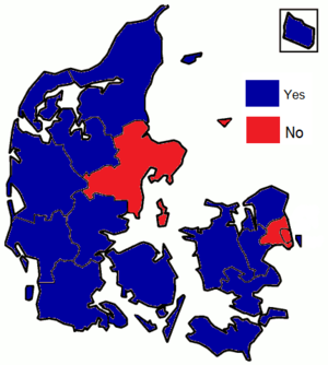 Danish Amsterdam Treaty referendum, 1998 - Image: Danish Amsterdam Treaty referendum results by county, 1998