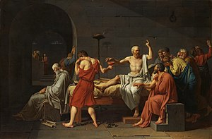 Euthanasia - The Death of Socrates, by Jacques-Louis David (1787), depicting Socrates prepared to drink hemlock, following his conviction for corrupting the youth of Athens