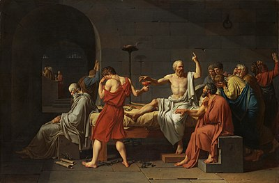 The philosopher Socrates about to take poison hemlock as ordered by the court.