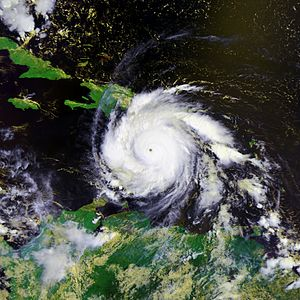 Hurricane Dean - Image of Hurricane Dean at category 5 hurricane strength on August 18, 2007
