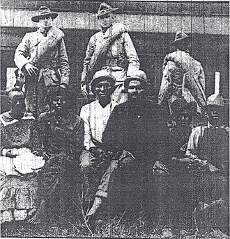 Forsyth County, Georgia - Photo taken October 2, 1912. Although not identified by the newspaper they are believed to be: (Left to Right) Trussie (Jane) Daniel, Oscar Daniel, Tony Howell (defendant in Ellen Grice rape), Ed Collins (witness), Isaiah Pirkle (witness for Howell), and Ernest Knox