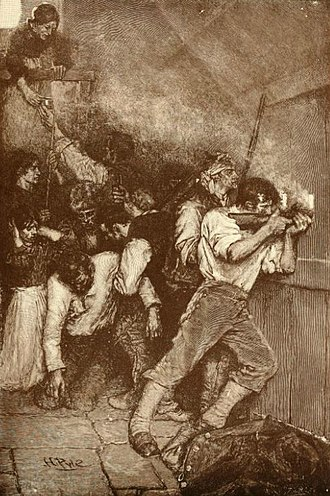 "Siege of Boonesborough - ""Defenders in Siege of Boonesborough"" by artist, Howard Pyle published in Harper's Weekly June 1887"