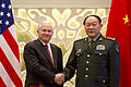 Defense.gov News Photo 110603-D-XH843-010 - Secretary of Defense Robert M. Gates and Chinese Defense Minister Gen. Liang Guanglie shake hands before their meeting at the Shangri-La Hotel in.jpg