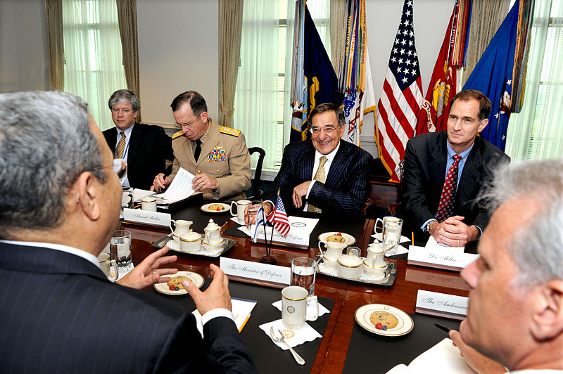 File:Defense.gov News Photo 110728-D-WQ296-114 - Secretary of Defense Leon E. Panetta 2nd from right chairs bilateral security discussions in the Pentagon with Israeli Defense Minister Ehud Barak.jpg