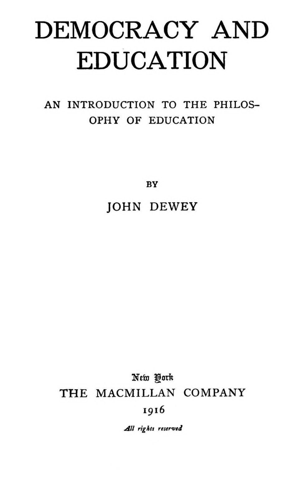 Democracy and Education title page