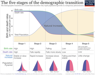 "Demographic transition - Demographic transition overview, with below-replacement-fertility broken out into a ""stage 5"""