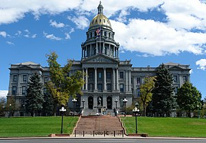 Outline of Colorado - The Colorado State Capitol in Denver