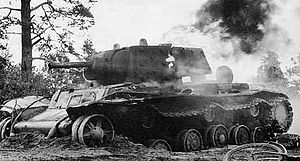 21st Mechanized Corps (Soviet Union) - A KV-1 put out of action in Russia in 1941