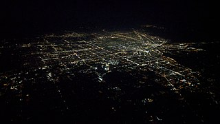 Nighttime aerial view of Detroit and vicinity from the south, September 2018