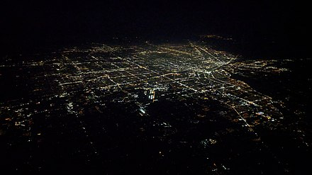 Nighttime aerial view of Detroit and vicinity from the south, September 2018 Detroit night aerial.jpg