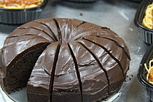 Devil's food cake sliced into portions