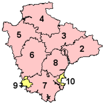 Devon County Council - Map of Devon's eight shire districts and two unitary authorities. 1-8 are administered by Devon County Council, but 9 and 10 are the unitary authority areas of Plymouth and Torbay, which are self-governed on local issues; they are considered part of the ceremonial county of Devon