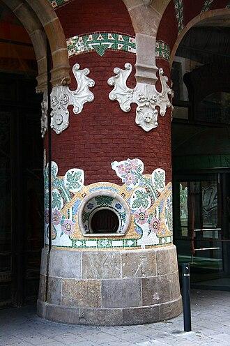 Palau de la Música Catalana - Former ticket box, in an entrance pillar.