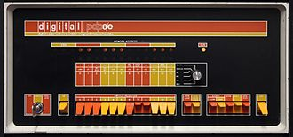 Booting - PDP-8/E front panel showing the switches used to load the bootstrap program
