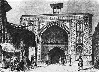 Ab anbar - The sar-dar of the ab anbar of Haj Kazem in Qazvin, as sketched by French explorer Dieulafoy in the mid-1800s.