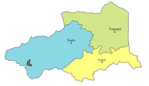 Arrondissements of the Pyrénées-Orientales department - Map of the three arrondissements before 2017