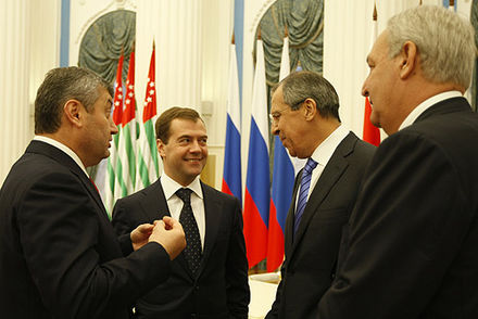 The leaders of Abkhazia, Russia and South Ossetia, shortly after the 2008 war. Left to right: South Ossetian President Eduard Kokoity; Russian President Dmitry Medvedev; Russian Foreign Minister Sergey Lavrov; Abkhazian President Sergei Bagapsh. Dmitry Medvedev 17 September 2008-3.jpg