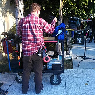 Below-the-line (filmmaking) - Dolly Grip with Steadicam at Olympia Medical Center Miracle Mile on the set of the television series Southland