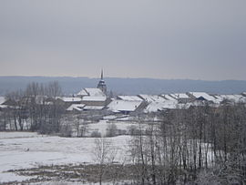 The village of Domjevin in the snow