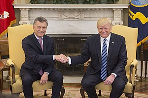 Foreign policy of the Donald Trump administration - Trump and Argentine president Mauricio Macri, April 2017