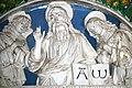 Dossale in terracotta invetriata, lunetta L'Eterno Padre Benedicente adorato dagli angeli di Andrea e Giovanni della Robbia.jpg