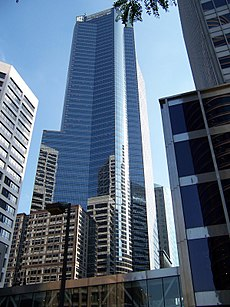 Large Capella tower and U.S. Bancorp towers reflection