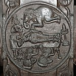 Dream of Queen Maya - Medallion - 2nd Century BCE - Red Sandstone - Bharhut Stupa Railing Pillar - Madhya Pradesh - Indian Museum - Kolkata 2012-11-16 1834.JPG